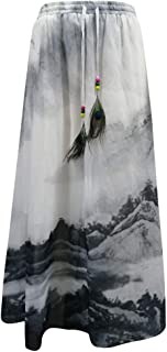 Feather Floral Midi Skirts Women Summer Casual Elastic Waistband Skirt
