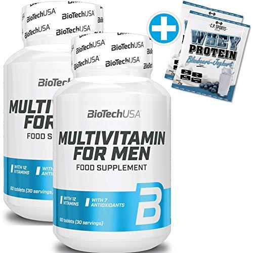 BioTech USA 2 x Multivitamin for Men + C.P. Sports 2 x 25g Whey Protein
