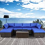 Outime Patio Outdoor Christmas Party Sofa PE Brown Rattan Furniture Set 7pcs Garden Wicker Patio Furniture Royal Blue Cushion Sectional Sofa Conversation Sets