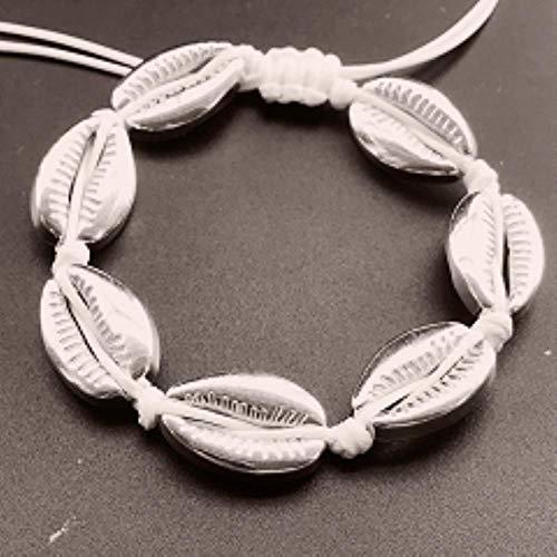 Handgemachte natürliche Muschel Hand stricken Armband Muscheln Armbänder Damen Accessoires Perlen Strang Armband, weiß Silber S905-2w