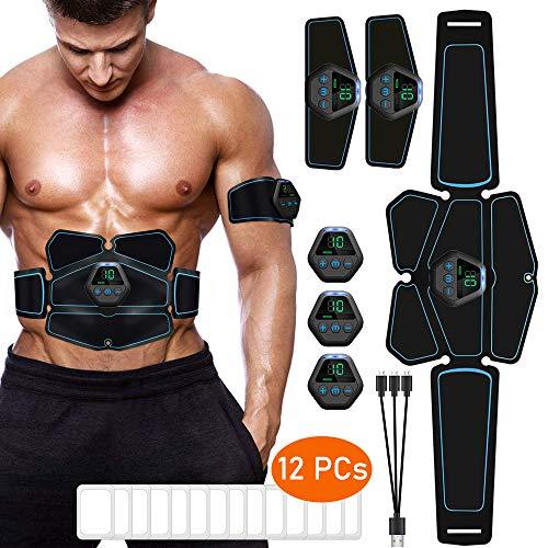ITEYAO Elettrostimolatore per Addominali Professionale, Elettrostimolatore Muscolare Stimolatore con USB Ricaricabile, 12 Pezzi Gel di Ricambio (6 Pacco)