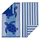 100% Cotton 2-Pack Beach Towel. Soft Absorbent Quick Dry Towel Set. Playa Collection. (30