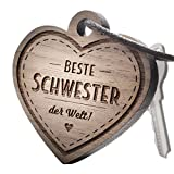 """Premium schenkYOU Schlüsselanhänger aus Nussbaumholz vorgraviert - personalisierte Geschenkidee - Gravur """"Beste Schwester der Welt!"""""""
