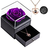 Preserved Real Rose Enchanted Real Rose Flower with Heart I Love You Necklace 100 Languages Gift, Handmade Flesh Flower Gift Box for Valentine's Day Anniversary Wedding for Her(Gold :Purple)