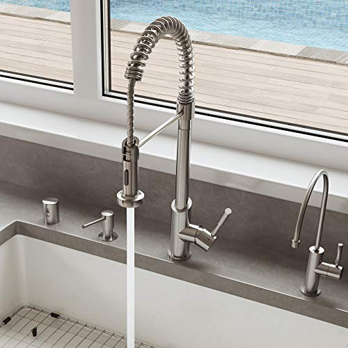ALFI brand AB2013 Solid Commercial Spring Kitchen Faucet with Pull Down Shower Spray, Stainless Steel