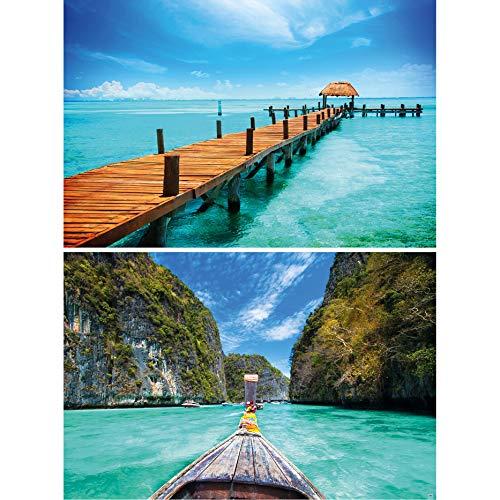 GREAT ART 2er Set XXL Poster – Bootsteg – Steg ins Meer & Bucht Küste Ozean Strand Sommer Thailand Langboot Tropen Sonne Wand-Bild Dekoration Fotoposter Wanddeko (140 x 100cm)