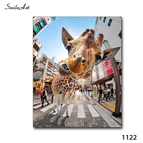 ganlanshu Leinwanddrucke Nettes modernes onhomewall Kunstbild der Giraffe60x75Rahmenlose Malerei