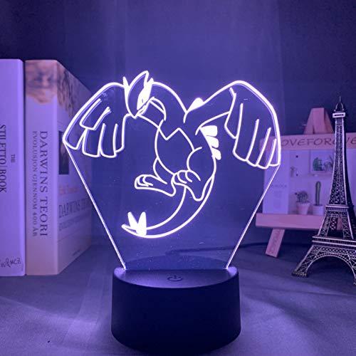 KangYD Juego de lámpara de noche 3D Pokemon Lugia, luz de ilusión óptica LED, C - Touch Crack Blanco (7 colores), Acrílico, Regalo para niña