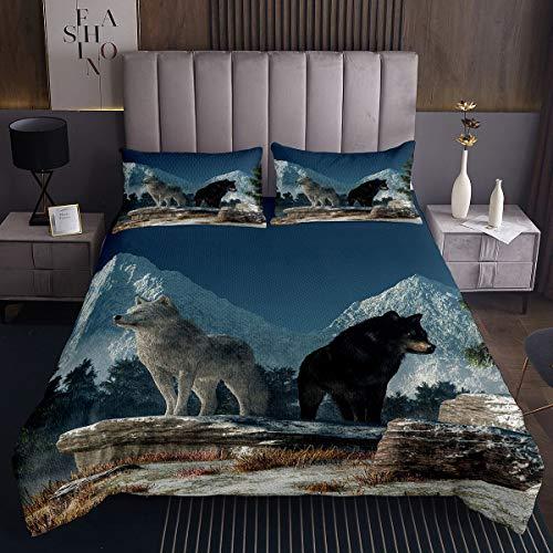 Colcha acolchada con diseño de animales salvajes, diseño de oso de lobo, para niños, niñas, niños, safari, juego de colcha ultra suave, decoración fresca estilo vida silvestre, acolchado, tamaño doble