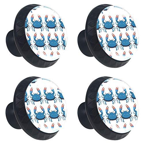 Juego de 4 pomos de armario de cocina de 1.18 pulgadas, pomos de cristal para cajones con kit de herramientas para muebles de dormitorio, cocina, bonito patrón de cangrejos azules
