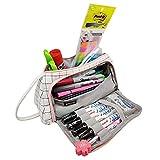 Estuches escolares Estuche grande para lápices de gran capacidad Para la oficina de la escuela secundaria, estudiante universitario, niña, mujer, adulto, adolescente, regalo, tela escocesa blanca