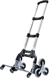 Stair Climbing Cart Portable Folding Trolley Cart Stair Climbing Hand Truck Adjustable Aluminum Alloy Tri-Wheels with Bung...