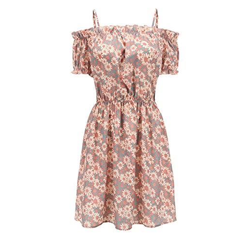 SLYZ Summer Women's Floral One-Shoulder Sling High-Waist Holiday Dress