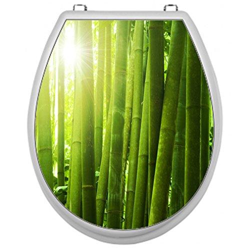 Aufkleber für Toilettensitz Klodeckel Aufkleber WC Sitz - Motiv Bambus