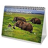 Elefant magique–DIN A5–Premium Calendrier de bureau/calendrier 2019–Éléphant–Afrique–Animaux–désert–Naturel–Coffret cadeau avec 1carte de vœux et 1carte de Noël–Édition âme magique