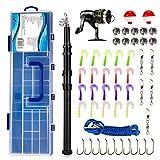 Kit de accesorios de pesca Spinning Reel Combo Set con carbono telescópica caña de pescar bolsa señuelos línea (juego combinado de caña de pescar)