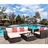 Polar Aurora 6pcs Patio Furniture Set PE Rattan Wicker Sectional Outdoor Sofa Set Outside Couch w/Beige Washable Seat Cushions & Modern Glass Coffee Table