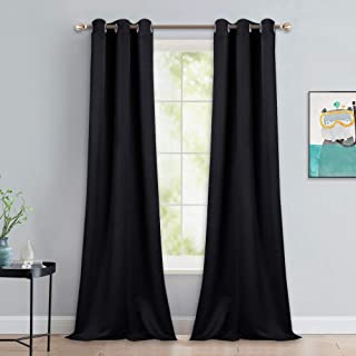 NICETOWN Black Out Curtain Panels - Home Decoration Thermal Insulated Solid Grommet Blackout Curtains/Drapes for Hall/Dining Room (Set of 2, 42 inches by 90 Inch, Black)