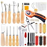 53 Pieces Beginners Leather Work Tools, Leather Working Kit with Instructions, Leather Groover, Awls, Prong Punch and Other Tools for Leather Working, Leather Tool Kit