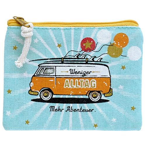 Die Geschenkewelt Happy Life 46427 Geldtäschchen mit Bus-Design, Reißverschluss und Kordel Mäppchen, Mehrfarbig, Länge 11,5 cm, Breite 9,5 cm