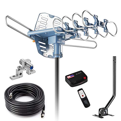 2019UPDATED-150 Miles-Amplified Outdoor TV Antenna-4K/1080p High Reception+40FT RG6 Cable-360°Strong Motor Rotation Wireless Remote- Snap On Installation+2TV Function