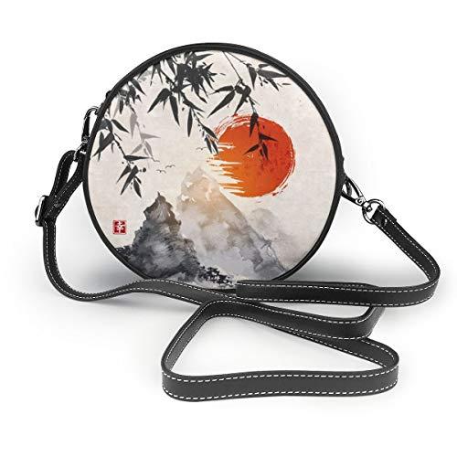 Elizabeth Hartman Fancy Forest Kit de couette Kona pour femme Rond Sac à bandoulière en cuir souple Cercle Portefeuille Mode - Noir - Bambou japonais Soleil et Montagnes, Taille unique