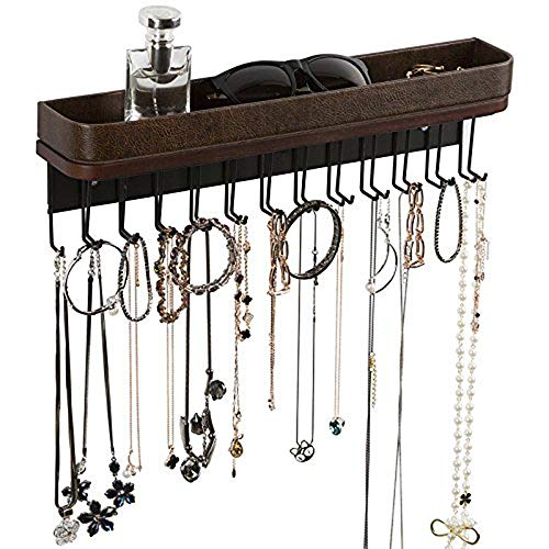 Jack Cube Aufhängung Jewelry Organizer Halskette Aufhänger Armband Halterung Wandhalterung Halskette Organizer mit 25Haken–mk124a (41,6x 12,4x 7,4cm), Type1 (Brown), 4.88