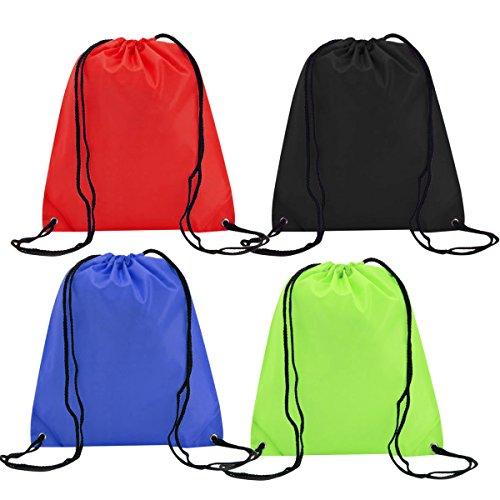EASEHOME 4 Pack Sac à Dos Cordon, Sac Nylon de Gym de Voyage Chaussures Tissu Jouet Organisateurs Bagage Sac Rangement Sac Emballage Pochette Vêtements pour Enfant Adulte
