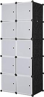 Sebastianee Armoire Portable DIY, Plastique Penderie, 10 Cubes de Rangement pour Vêtements, Chaussures, Accessoires, blan...