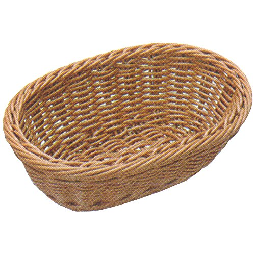 ディスプレイ バスケット 樹脂 かご 小判 食洗機 対応 ステンレス枠付 ブラウン 30cmタイプ (約30×22×9.5cm) 91-071B