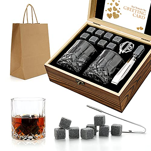 Ensemble cadeau de pierres et verres de whisky, Whiskey Rocks, pierres glaçantes dans une boîte en bois faite main (Small)