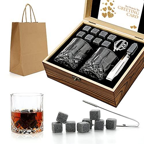 Set da regalo di pietre e bicchieri di whisky, pietre di whisky pietre da brivido in scatola di legno fatta a mano - bevande fresche senza diluizione