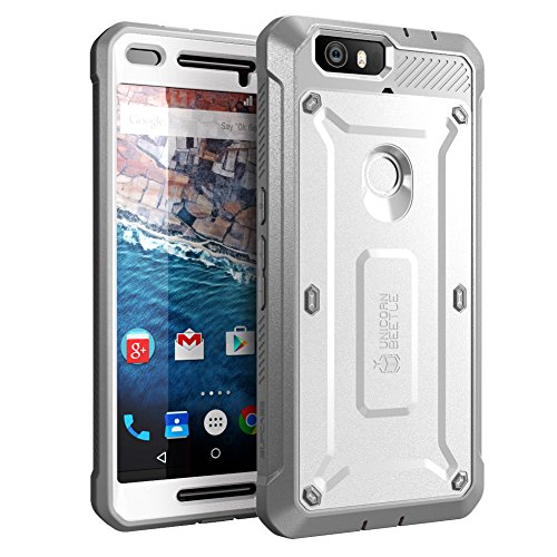 Nexus 6P Case, SUPCASE [Heavy Duty] Belt Clip Holster Case for Google Nexus 6P (2015 Release) [Unicorn Beetle PRO Series] Full-Body Rugged Hybrid Protective Cover with Screen Protector (White/Gray)