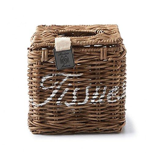 Riviera Maison - Eckige Box für Kosmetiktücher - Tissue Box - Rustic Rattan - braun - (LxBxH): 13 x 13 x 13