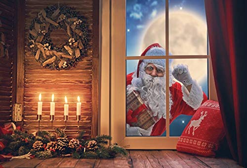 Winter Backdrops Christmas Snow Tree Santa Clause Deer Gift Lantern Kid Gift Pine Backgrounds Photocall For Photo Studio A19 3x2.2m