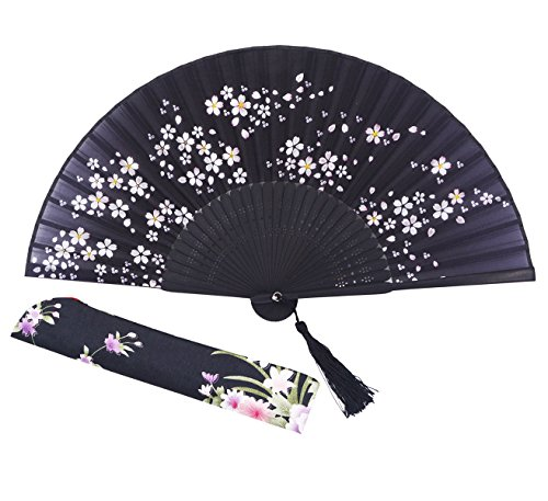 """Amajiji Charming Elegant Modern Woman Handmade Bamboo Silk 8.27"""" (21cm) Folding Pocket Purse Hand Fan, Collapsible Transparent Holding Painted Fan with Silk Pouches/Wrapping. (CZT-05)"""