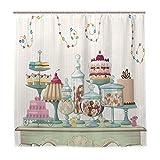 JOOCAR Design-Duschvorhang, appetitliche Kuchen & Glasgläser, Set auf ausgefallenen Tischdekorationen, wasserdichter Stoff, Badezimmer-Dekor-Set mit Haken