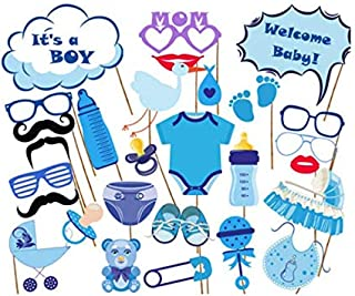27pcs Baby Shower Photo Booth Props Its a Boy Favors Party Decorations Supplies Games Babyshower Photobooth funny kits