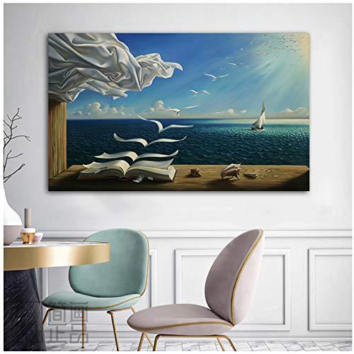 NIEMENGZHEN Impresión en Lienzo Salvador Dali Sea Waves Imagen del Libro Lienzo Pintura Arte de la Pared Imágenes para la Sala Decoración Moderna Decoración para el hogar 70x100cm Sin Marco