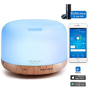 ASAKUKI Smart Wi-Fi Essential Oil Diffuser - App Control Compatible with Alexa, 500ml Aromatherapy Humidifier for Air Purifying and Relaxing Atmosphere in Bedroom and Office- Better Sleeping&Breathing