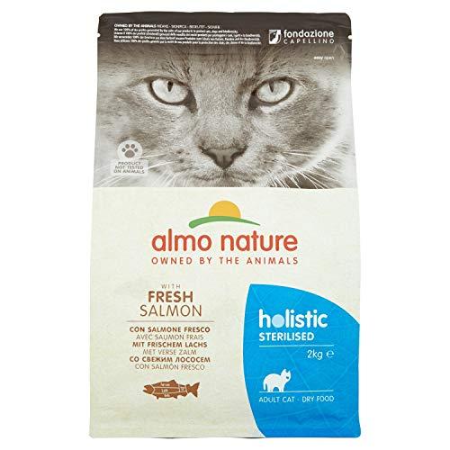 Almo Nature Holistic Sterilised con Carne Fresca - Cibo secco completo per gatti adulti con Salmone Fresco. Sacchetto da 2 Kg