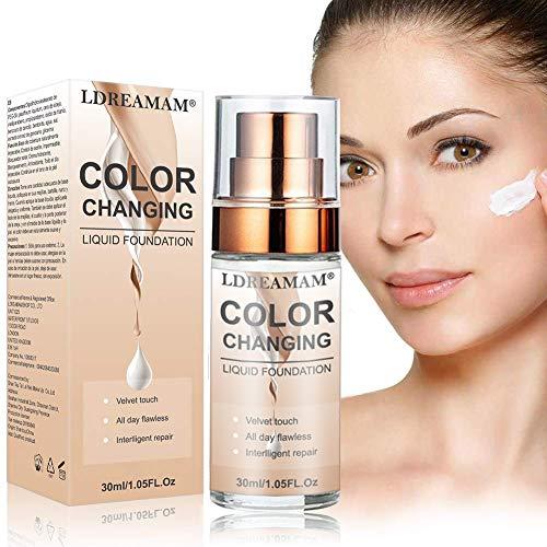 Make-up-Grundierung, Flüssige Grundierung, Liquid Foundation, farbwechselnde flüssige Grundierung,Anti-Öl und Anti-Schweiß lang anhaltendes Make-up und feuchtigkeitsspendend, jeder Hauttyp-Concealer