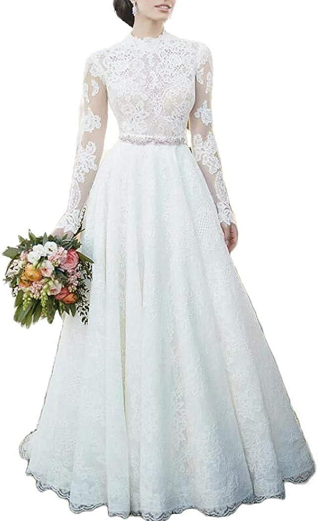 Meganbridal Women's 2020 High Neck Lace Wedding Dress with Long Sleeve A Line Garden Outdoor Bride Ball Gowns