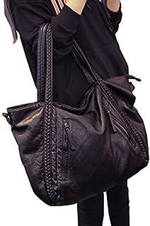 Big Capacity Fashion Women Handbags Soft Leather Lady Tote Purses Woven Work Shoulder Hobo Bag
