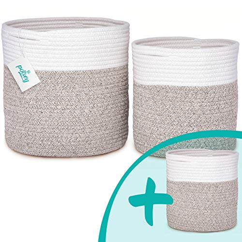 Woven Plant Basket for Indoor Plants 3-Pack - Cotton Planter Baskets with Handles - Large Rope Pot Baskets, Laundry Organizers, Toy Storage Baskets, Boho Home Decor – White/Brown (12x12 10x10 & 8x8)