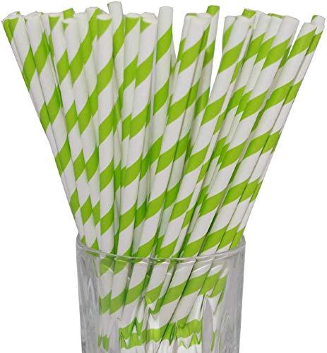 LUXENTU Strohhalme Trinkhalme aus Papier - 100, 300, 500 oder 1000 Stück - (100 Stück, Grün/Streifen)