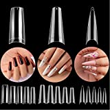 Beetles 3 Styles Acrylic Nail Tips - Artificial False Nails Clear Coffin Ballerina Stiletto Nail Tips for Acrylic Nail/Dip Powder Nails/Poly Nail Extension Gel Nail Art DIY Home, 488 Pcs
