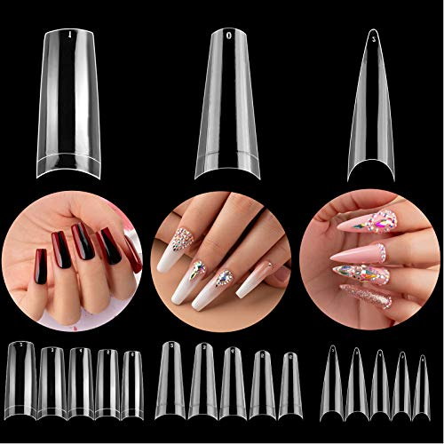 3 Styles Acrylic Nail Tips - Beetles Gel Polish Artificial False Nails Clear Coffin Ballerina Stiletto Nail Tips for Acrylic Nail/Dip Powder Nails/Poly Nail Extension Gel Nail Art DIY Home, 488 Pcs