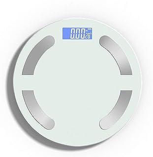 Básculas inteligentes de grasa corporal Bluetooth, entrada de voz, monitor analizador de composición corporal, con pantalla LED más grande y superficie de vidrio templado, medición alta precisión