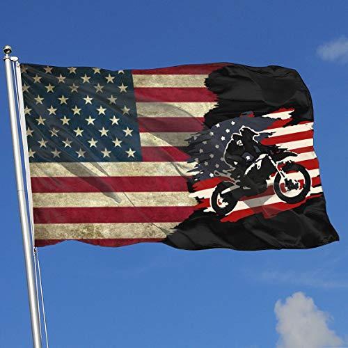 Dirt Bike Motocross American Flag Banner Flag Funny Festival Flag Spring Summer Garden Flag 3 X5 House Banner Flag